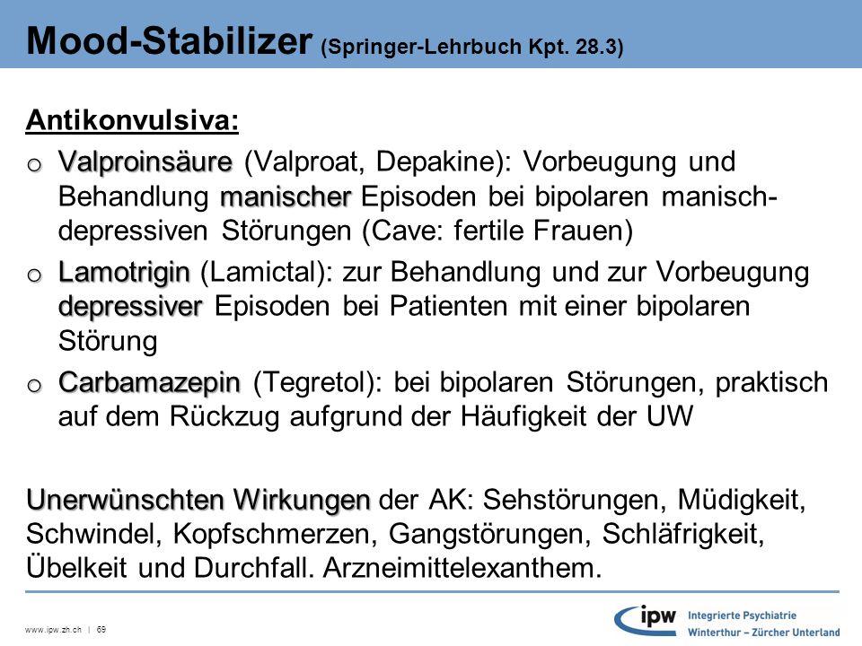 www.ipw.zh.ch | 69 Mood-Stabilizer (Springer-Lehrbuch Kpt.
