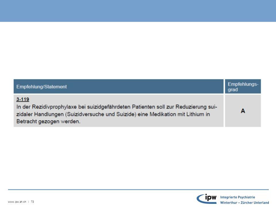 www.ipw.zh.ch | 74 Off-label use 4 Typen von Off-label-Verschreibungen kategorisiert («the four 'D's», Royal College of Psychiatrists ): 1.Diagnose («disorder»), 2.Demographie, 3.Dosis und 4.Dauer der Behandlung anderer Indikation anderer Dosierungandere Patientenpopulation Abänderung der technisch-pharmazeutischen Vorgaben Häufigste Off-label-Verschreibung in Form anderer Indikation oder anderer Dosierung, andere Patientenpopulation (z.B.