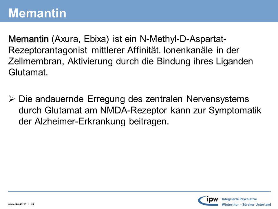 www.ipw.zh.ch | 84 Antidementiva Neben der bestenfalls möglichen Reduktion der Geschwindigkeit der Abnahme kognitiver Fähigkeiten bieten CholinesterasehemmerCholinesterasehemmer v.a.