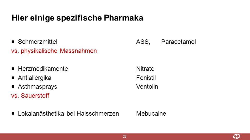 Hier einige spezifische Pharmaka 28  SchmerzmittelASS, Paracetamol vs.