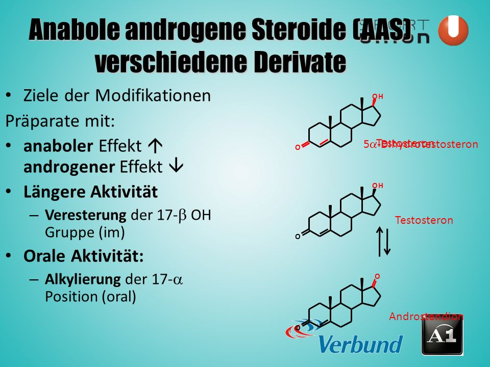 Anabole androgene Steroide (AAS) verschiedene Derivate Ziele der Modifikationen Präparate mit: anaboler Effekt  androgener Effekt  Längere Aktivität – Veresterung der 17-  OH Gruppe (im) Orale Aktivität: – Alkylierung der 17-  Position (oral) Testosteron 5  -Dihydrotestosteron O OH O OH O O Testosteron Androstendion