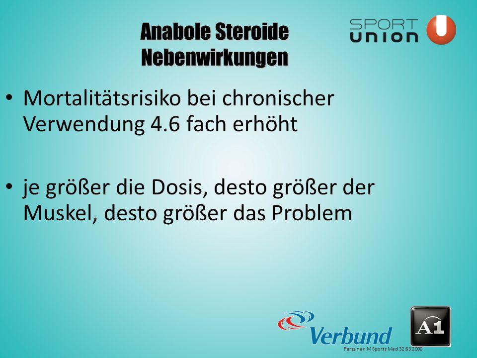 Anabole Steroide Nebenwirkungen Mortalitätsrisiko bei chronischer Verwendung 4.6 fach erhöht je größer die Dosis, desto größer der Muskel, desto größer das Problem Parssinen M Sports Med 32:83 2000