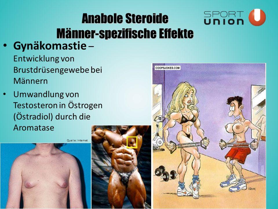 Anabole Steroide Männer-spezifische Effekte Gynäkomastie – Entwicklung von Brustdrüsengewebe bei Männern Umwandlung von Testosteron in Östrogen (Östradiol) durch die Aromatase Quelle: Internet