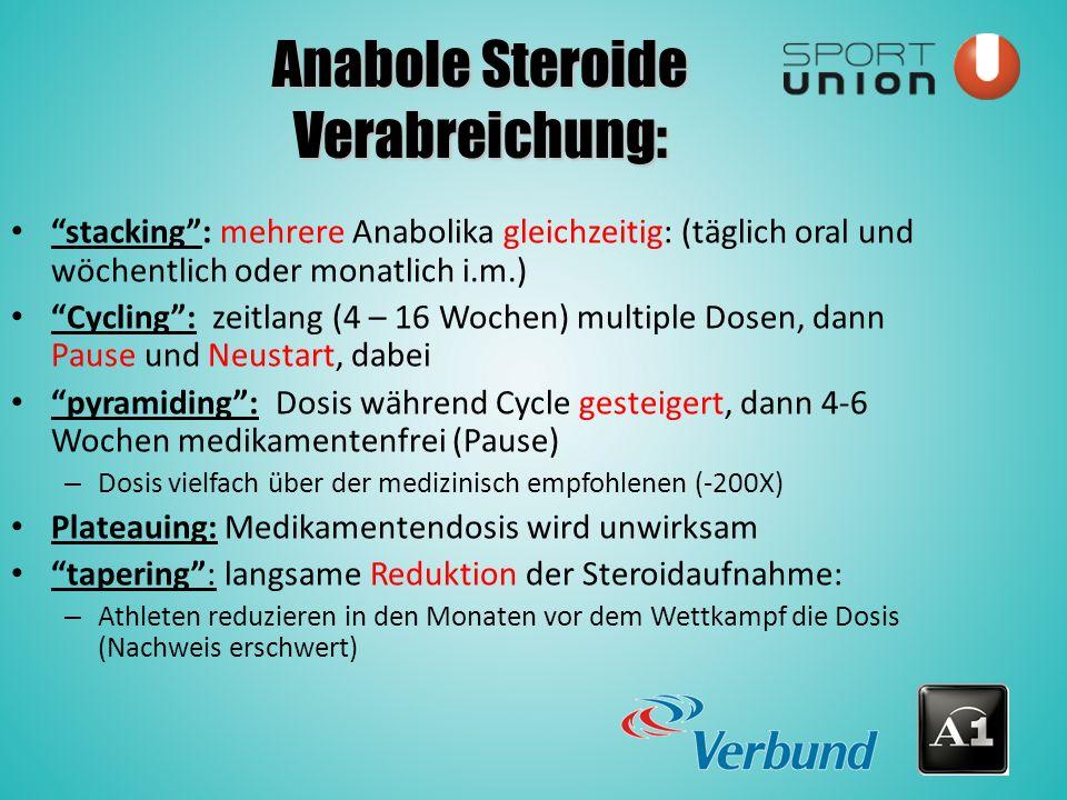 Anabole Steroide Verabreichung: stacking : mehrere Anabolika gleichzeitig: (täglich oral und wöchentlich oder monatlich i.m.) Cycling : zeitlang (4 – 16 Wochen) multiple Dosen, dann Pause und Neustart, dabei pyramiding : Dosis während Cycle gesteigert, dann 4-6 Wochen medikamentenfrei (Pause) – Dosis vielfach über der medizinisch empfohlenen (-200X) Plateauing: Medikamentendosis wird unwirksam tapering : langsame Reduktion der Steroidaufnahme: – Athleten reduzieren in den Monaten vor dem Wettkampf die Dosis (Nachweis erschwert)