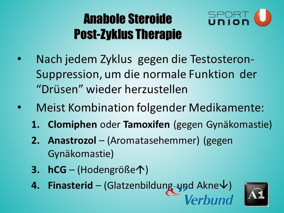Anabole Steroide Post-Zyklus Therapie Nach jedem Zyklus gegen die Testosteron- Suppression, um die normale Funktion der Drüsen wieder herzustellen Meist Kombination folgender Medikamente: 1.Clomiphen oder Tamoxifen (gegen Gynäkomastie) 2.Anastrozol – (Aromatasehemmer) (gegen Gynäkomastie) 3.hCG – (Hodengröße  ) 4.Finasterid – (Glatzenbildung und Akne  )