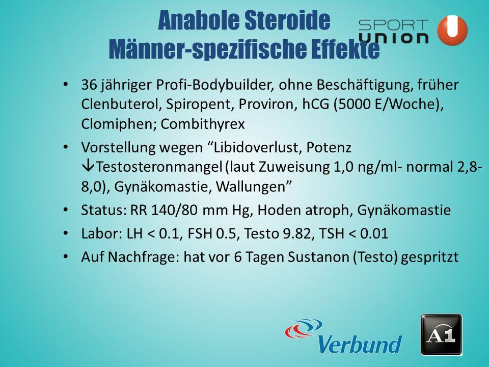 36 jähriger Profi-Bodybuilder, ohne Beschäftigung, früher Clenbuterol, Spiropent, Proviron, hCG (5000 E/Woche), Clomiphen; Combithyrex Vorstellung wegen Libidoverlust, Potenz  Testosteronmangel (laut Zuweisung 1,0 ng/ml- normal 2,8- 8,0), Gynäkomastie, Wallungen Status: RR 140/80 mm Hg, Hoden atroph, Gynäkomastie Labor: LH < 0.1, FSH 0.5, Testo 9.82, TSH < 0.01 Auf Nachfrage: hat vor 6 Tagen Sustanon (Testo) gespritzt Anabole Steroide Männer-spezifische Effekte