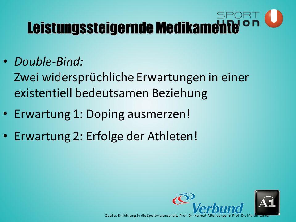 Double-Bind: Zwei widersprüchliche Erwartungen in einer existentiell bedeutsamen Beziehung Erwartung 1: Doping ausmerzen.