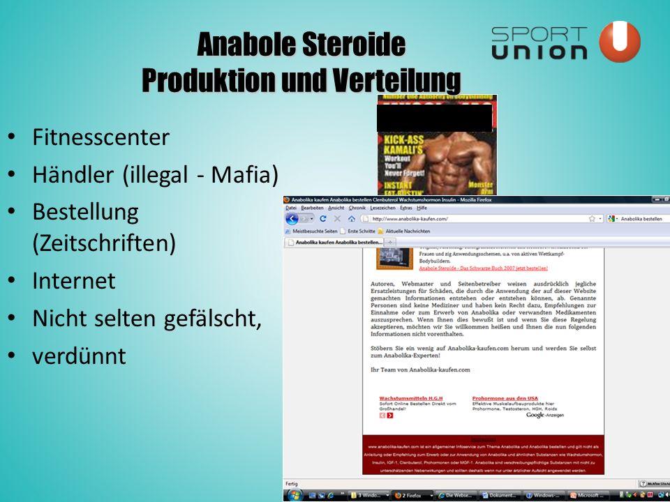 Anabole Steroide Produktion und Verteilung Fitnesscenter Händler (illegal - Mafia) Bestellung (Zeitschriften) Internet Nicht selten gefälscht, verdünnt