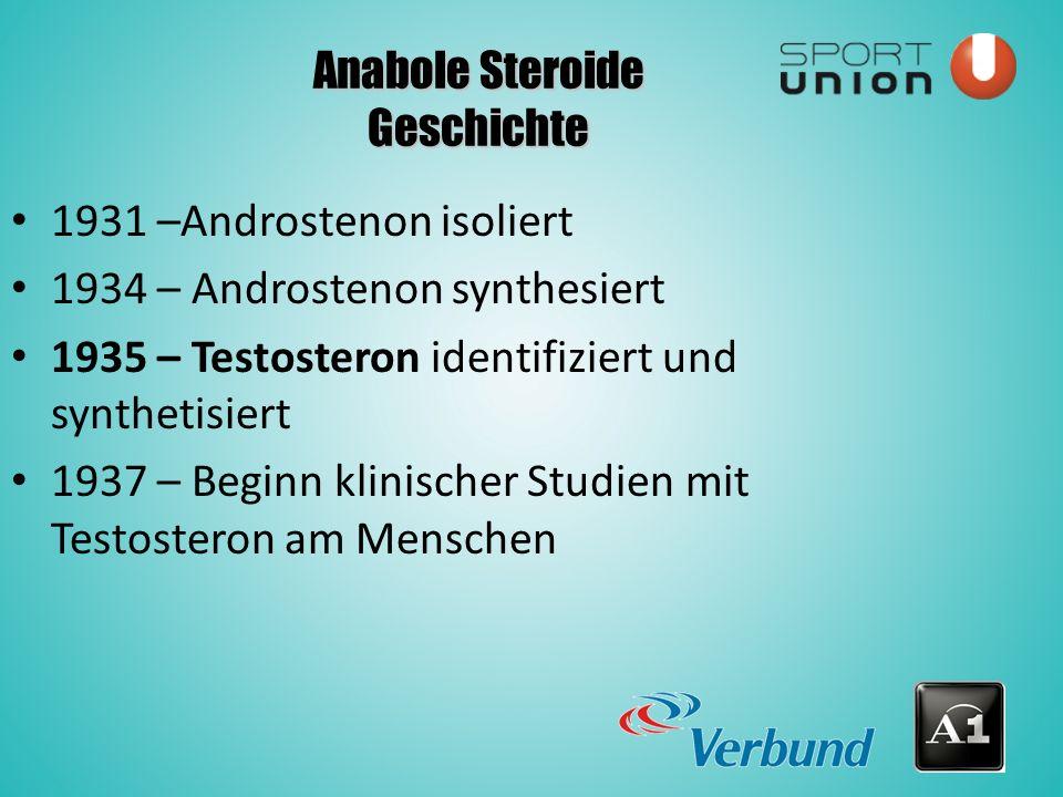 Anabole Steroide Geschichte 1931 –Androstenon isoliert 1934 – Androstenon synthesiert 1935 – Testosteron identifiziert und synthetisiert 1937 – Beginn klinischer Studien mit Testosteron am Menschen