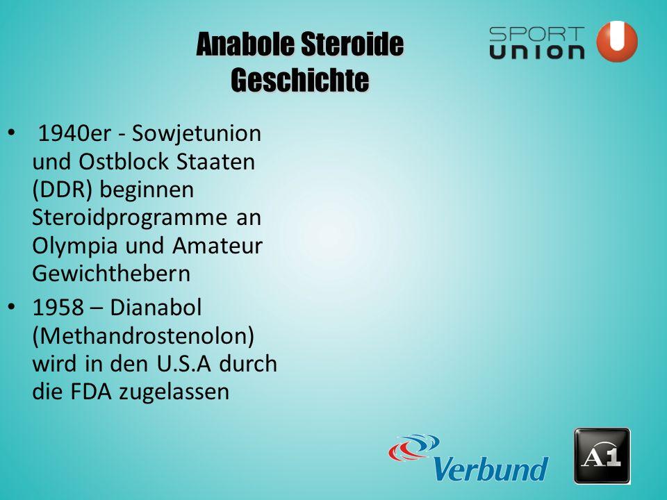 Anabole Steroide Geschichte 1940er - Sowjetunion und Ostblock Staaten (DDR) beginnen Steroidprogramme an Olympia und Amateur Gewichthebern 1958 – Dianabol (Methandrostenolon) wird in den U.S.A durch die FDA zugelassen