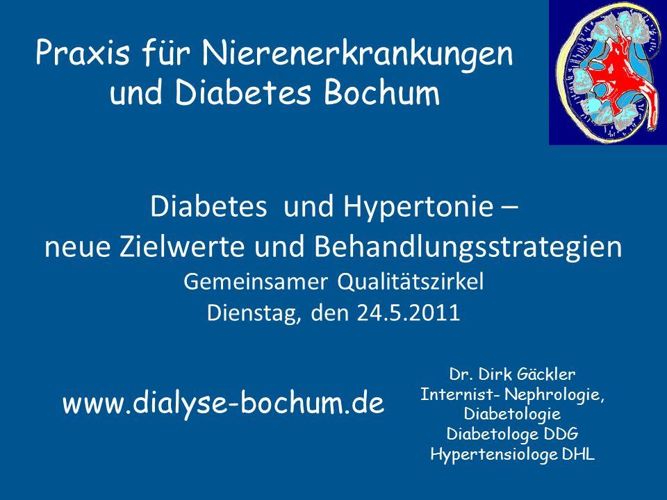 Accord und Blutdruck 4733 Typ 2 Diabetiker in der Accord-Study NEJM 14.3.2010 62 Jahre alt, 10 Jahre Diabetes, fünf Jahre beobachtet 119,3 vs.