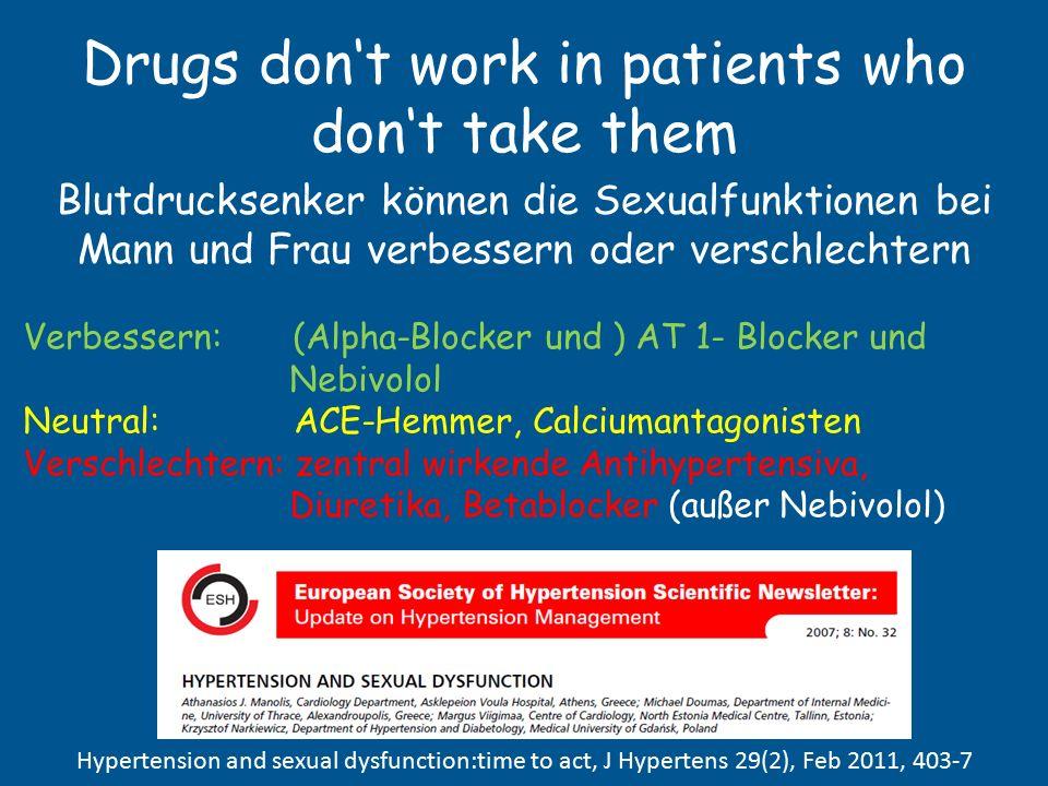 Drugs don't work in patients who don't take them Sexualfunktion und Blutdruck bzw. Blutdrucksenker Bluthochdruck führt zur Reduktion der Sexualfunktio