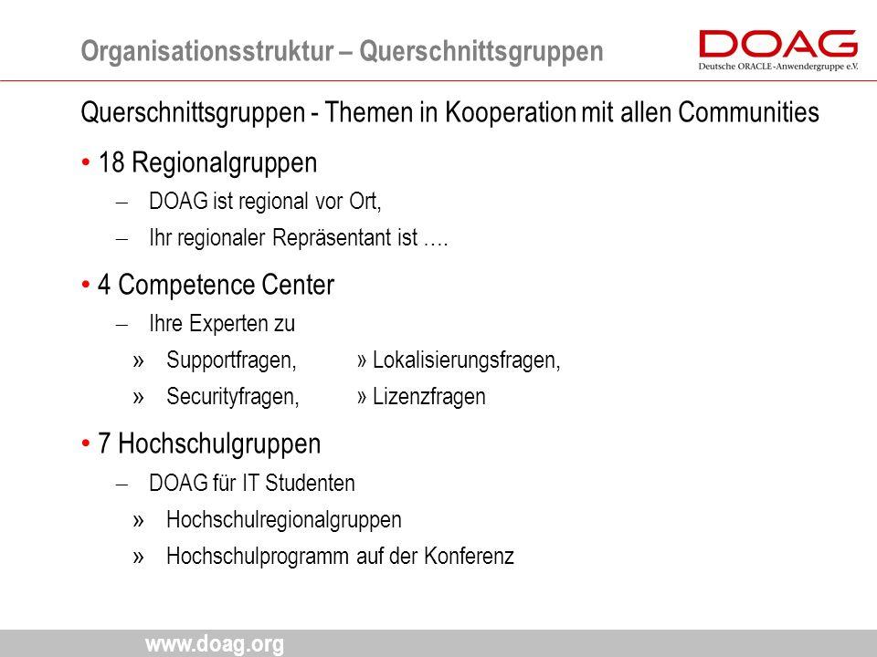 www.doag.org Querschnittsgruppen - Themen in Kooperation mit allen Communities 18 Regionalgruppen  DOAG ist regional vor Ort,  Ihr regionaler Repräs