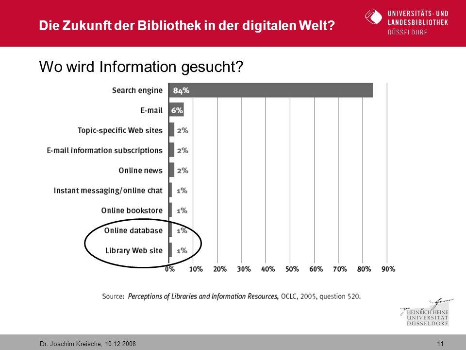 11 Dr. Joachim Kreische, 10.12.2008 Die Zukunft der Bibliothek in der digitalen Welt? Wo wird Information gesucht?