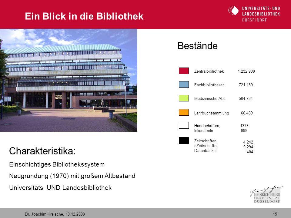 15 Dr. Joachim Kreische, 10.12.2008 Ein Blick in die Bibliothek Zentralbibliothek 1.252.908 Fachbibliotheken 721.189 Medizinische Abt. 504.734 Handsch