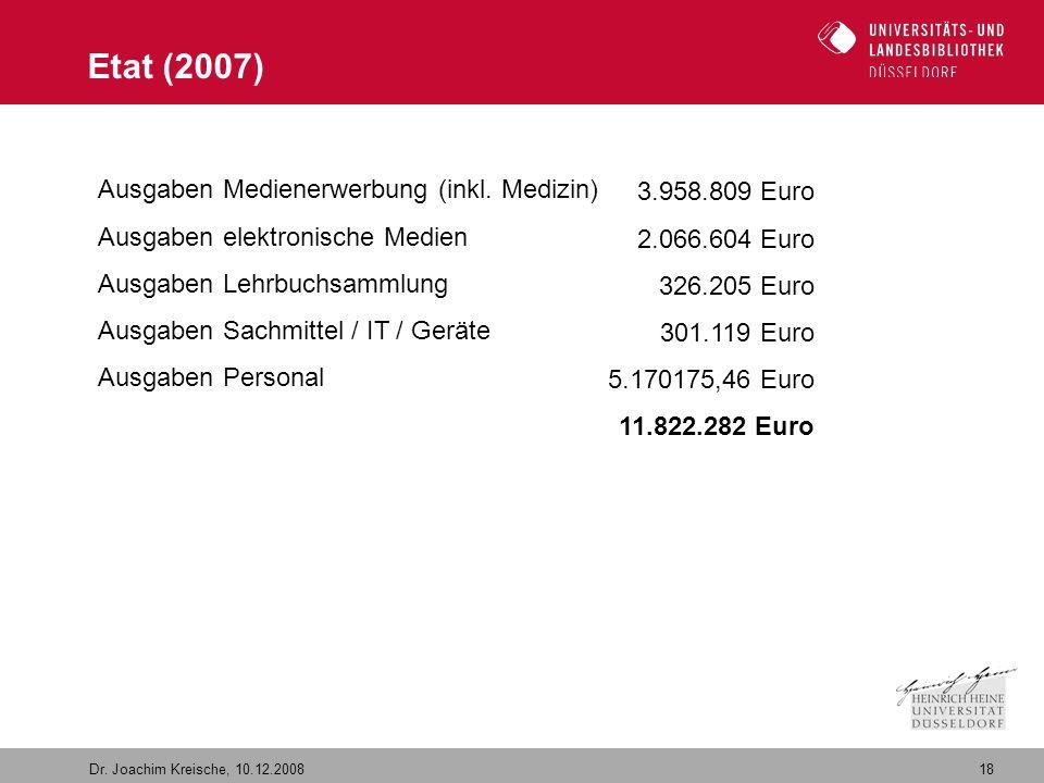 18 Dr. Joachim Kreische, 10.12.2008 Etat (2007) Ausgaben Medienerwerbung (inkl. Medizin) Ausgaben elektronische Medien Ausgaben Lehrbuchsammlung Ausga