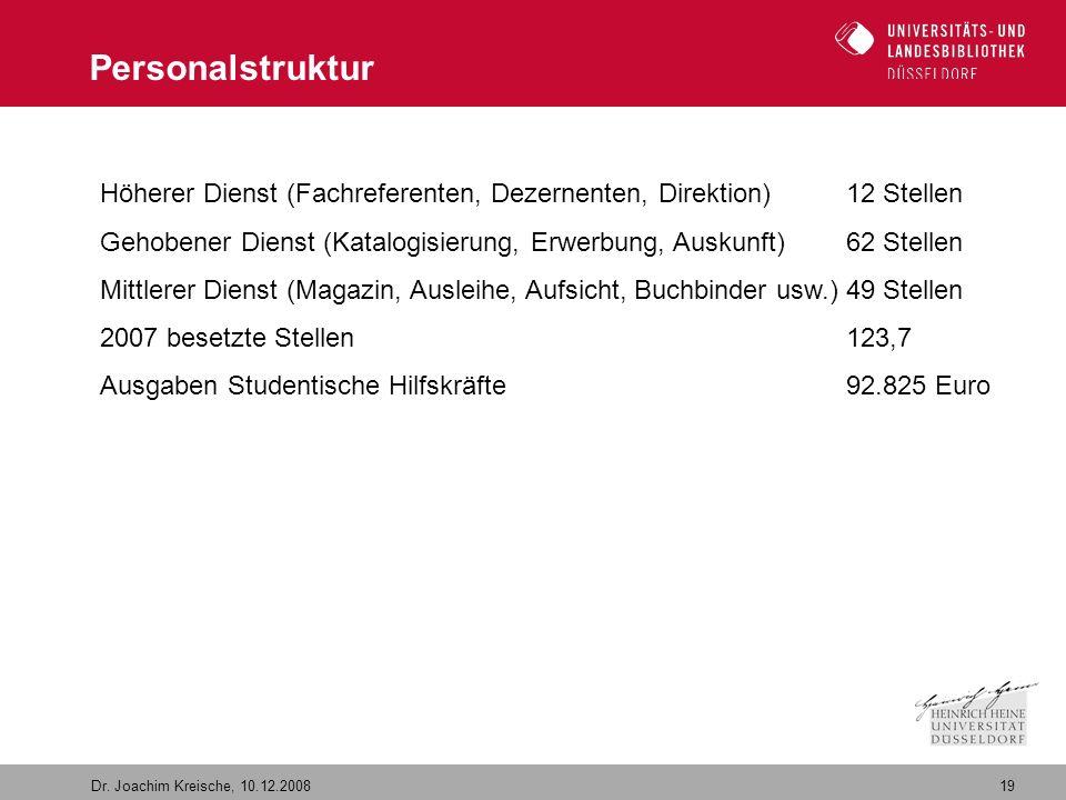 19 Dr. Joachim Kreische, 10.12.2008 Personalstruktur Höherer Dienst (Fachreferenten, Dezernenten, Direktion)12 Stellen Gehobener Dienst (Katalogisieru