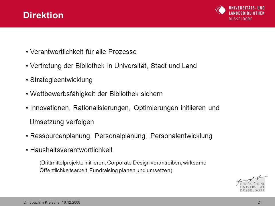 24 Dr. Joachim Kreische, 10.12.2008 Direktion Verantwortlichkeit für alle Prozesse Vertretung der Bibliothek in Universität, Stadt und Land Strategiee