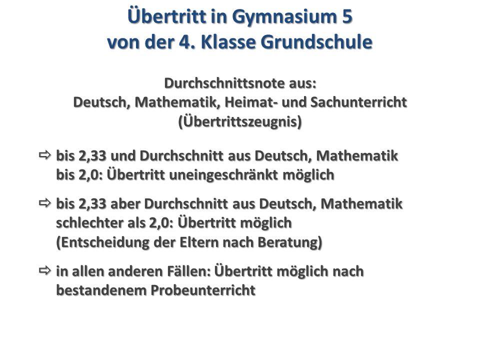  bis 2,33 und Durchschnitt aus Deutsch, Mathematik bis 2,0: Übertritt uneingeschränkt möglich bis 2,0: Übertritt uneingeschränkt möglich  bis 2,33 aber Durchschnitt aus Deutsch, Mathematik schlechter als 2,0: Übertritt möglich (Entscheidung der Eltern nach Beratung)  bis 2,33 aber Durchschnitt aus Deutsch, Mathematik schlechter als 2,0: Übertritt möglich (Entscheidung der Eltern nach Beratung)  in allen anderen Fällen: Übertritt möglich nach bestandenem Probeunterricht  in allen anderen Fällen: Übertritt möglich nach bestandenem Probeunterricht Übertritt in Gymnasium 5 von der 4.