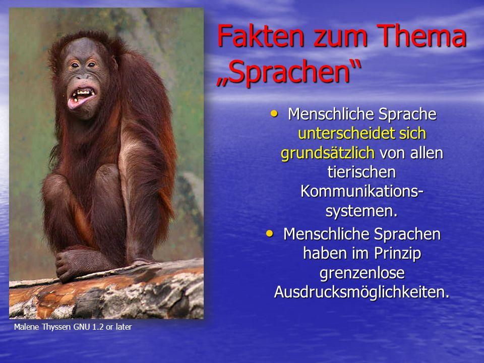 """Fakten zum Thema """"Sprachen Menschliche Sprache unterscheidet sich grundsätzlich von allen tierischen Kommunikations- systemen."""