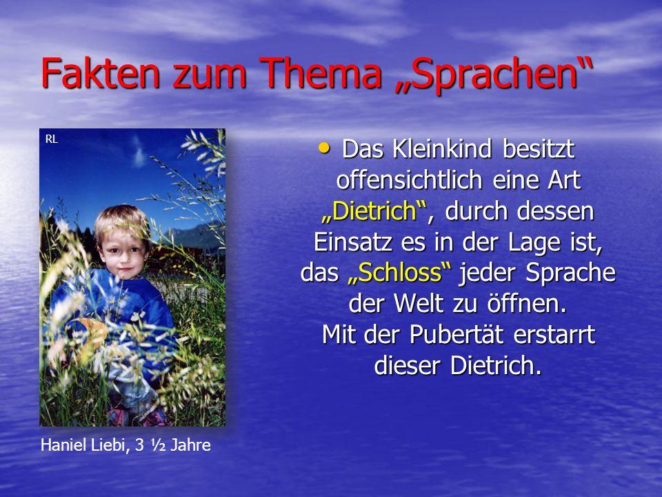 """Fakten zum Thema """"Sprachen Das Kleinkind besitzt offensichtlich eine Art """"Dietrich , durch dessen Einsatz es in der Lage ist, das """"Schloss jeder Sprache der Welt zu öffnen."""