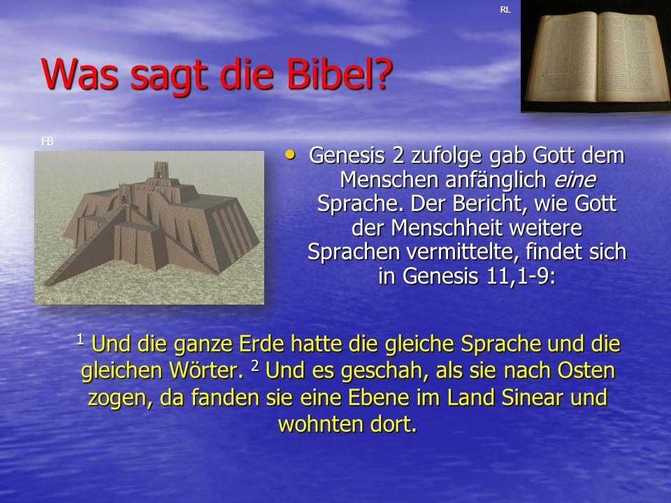 Was sagt die Bibel.1 Und die ganze Erde hatte die gleiche Sprache und die gleichen Wörter.