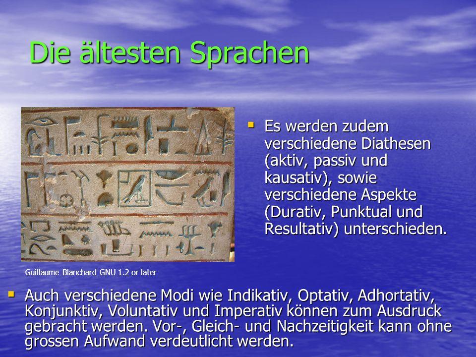 Die ältesten Sprachen  Auch verschiedene Modi wie Indikativ, Optativ, Adhortativ, Konjunktiv, Voluntativ und Imperativ können zum Ausdruck gebracht werden.