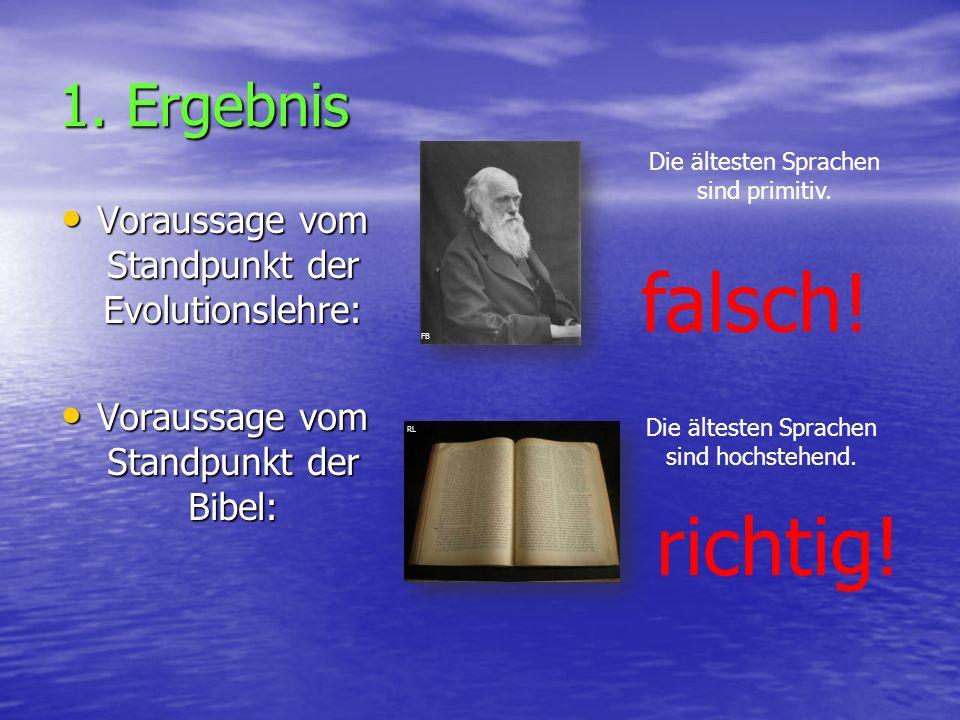 1. Ergebnis Voraussage vom Standpunkt der Evolutionslehre: Voraussage vom Standpunkt der Evolutionslehre: Voraussage vom Standpunkt der Bibel: Vorauss