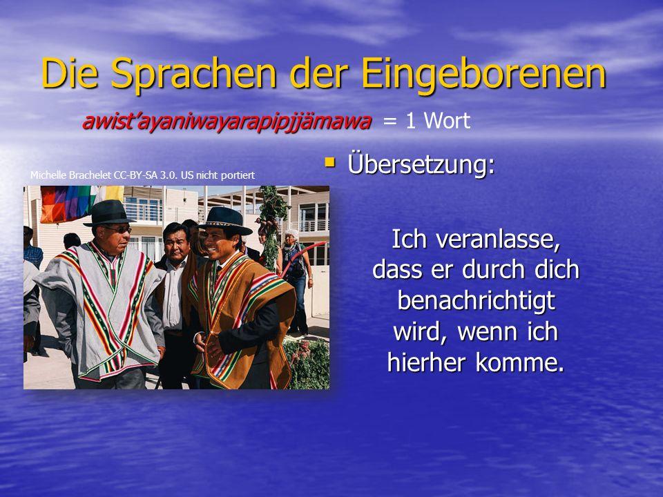 Die Sprachen der Eingeborenen  Übersetzung: Ich veranlasse, dass er durch dich benachrichtigt wird, wenn ich hierher komme.