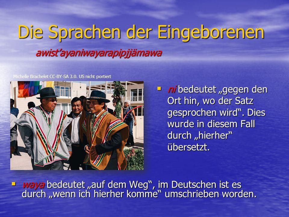 """Die Sprachen der Eingeborenen  ni bedeutet """"gegen den Ort hin, wo der Satz gesprochen wird ."""