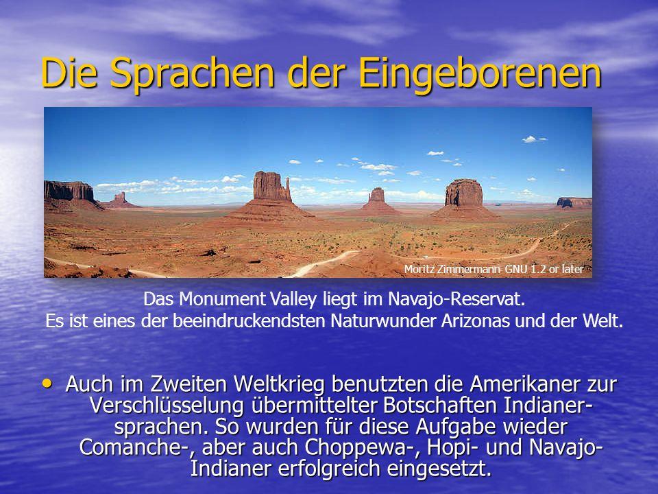 Die Sprachen der Eingeborenen Auch im Zweiten Weltkrieg benutzten die Amerikaner zur Verschlüsselung übermittelter Botschaften Indianer- sprachen.