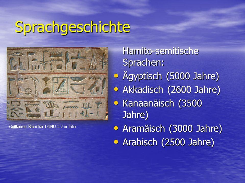 Sprachgeschichte Hamito-semitische Sprachen: Ägyptisch (5000 Jahre) Ägyptisch (5000 Jahre) Akkadisch (2600 Jahre) Akkadisch (2600 Jahre) Kanaanäisch (3500 Jahre) Kanaanäisch (3500 Jahre) Aramäisch (3000 Jahre) Aramäisch (3000 Jahre) Arabisch (2500 Jahre) Arabisch (2500 Jahre) Guillaume Blanchard GNU 1.2 or later
