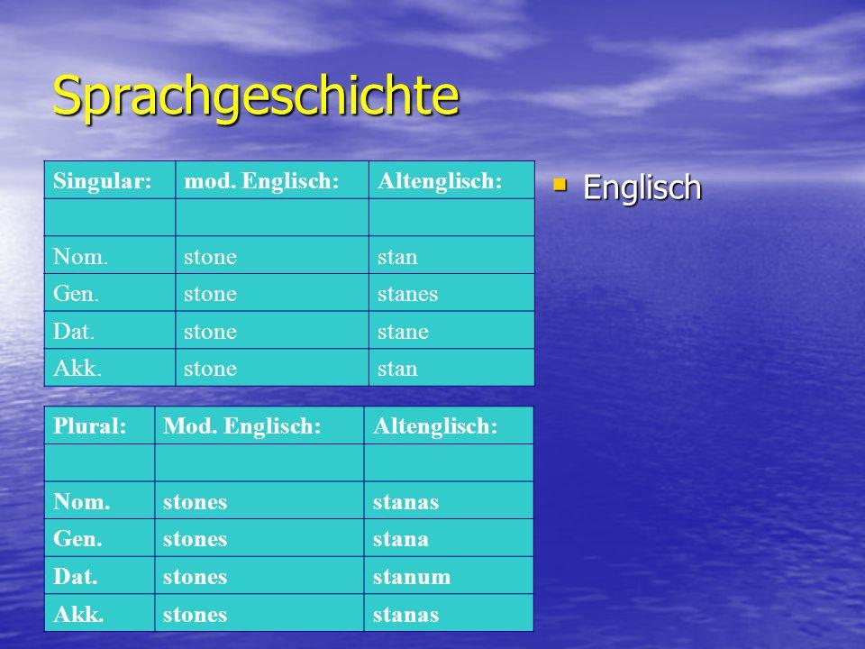 Sprachgeschichte  Englisch Singular:mod.