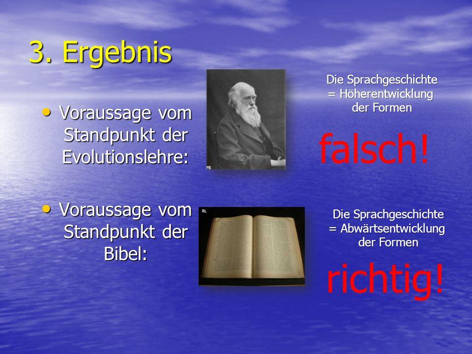 3. Ergebnis Voraussage vom Standpunkt der Evolutionslehre: Voraussage vom Standpunkt der Evolutionslehre: Voraussage vom Standpunkt der Bibel: Vorauss