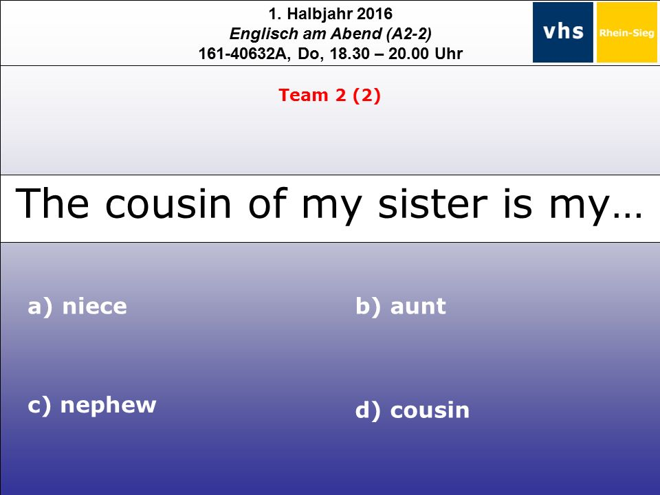1. Halbjahr 2016 Englisch am Abend (A2-2) 161-40632A, Do, 18.30 – 20.00 Uhr a) niece c) nephew d) cousin b) aunt Team 2 (2) The cousin of my sister is
