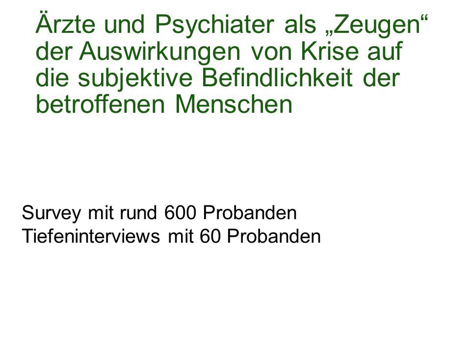 """Ärzte und Psychiater als """"Zeugen der Auswirkungen von Krise auf die subjektive Befindlichkeit der betroffenen Menschen Survey mit rund 600 Probanden Tiefeninterviews mit 60 Probanden"""