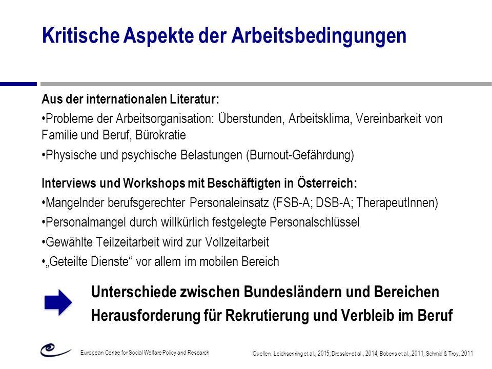 Kritische Aspekte der Arbeitsbedingungen Aus der internationalen Literatur: Probleme der Arbeitsorganisation: Überstunden, Arbeitsklima, Vereinbarkeit