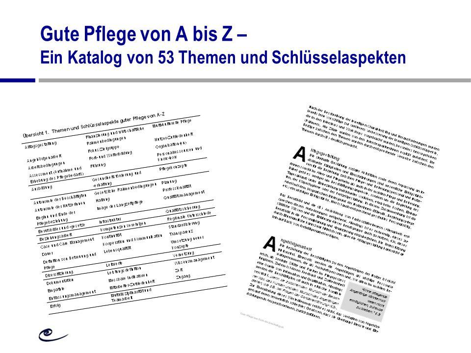 Gute Pflege von A bis Z – Ein Katalog von 53 Themen und Schlüsselaspekten