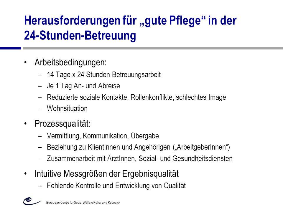 """Herausforderungen für """"gute Pflege"""" in der 24-Stunden-Betreuung Arbeitsbedingungen: –14 Tage x 24 Stunden Betreuungsarbeit –Je 1 Tag An- und Abreise –"""
