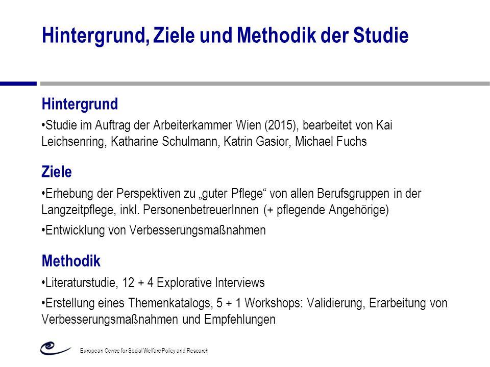 Hintergrund, Ziele und Methodik der Studie Hintergrund Studie im Auftrag der Arbeiterkammer Wien (2015), bearbeitet von Kai Leichsenring, Katharine Sc