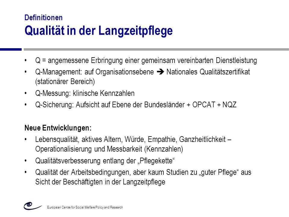 Definitionen Qualität in der Langzeitpflege Q = angemessene Erbringung einer gemeinsam vereinbarten Dienstleistung Q-Management: auf Organisationseben