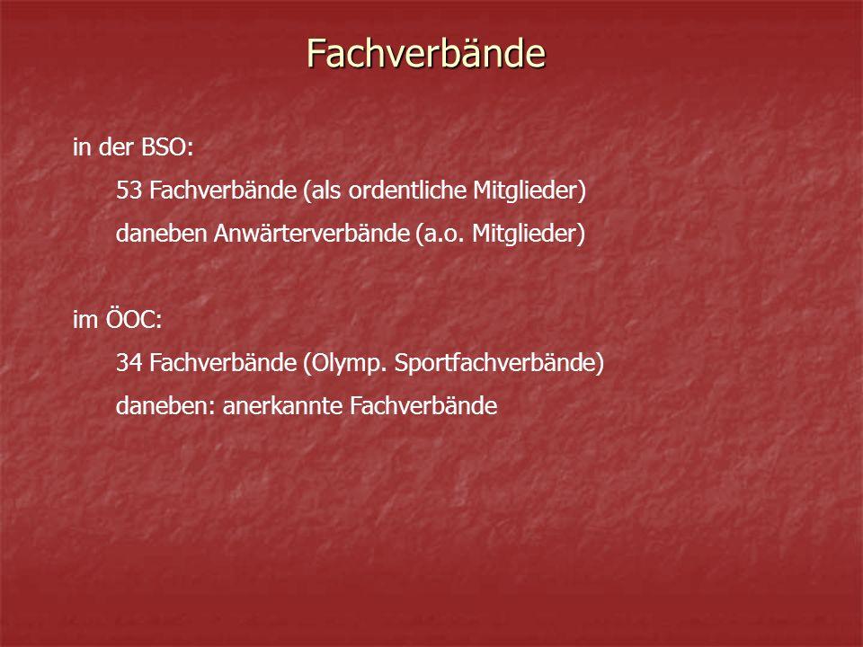 Fachverbände in der BSO: 53 Fachverbände (als ordentliche Mitglieder) daneben Anwärterverbände (a.o.