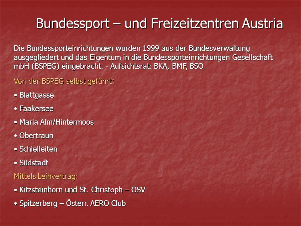 Bundessport – und Freizeitzentren Austria Die Bundessporteinrichtungen wurden 1999 aus der Bundesverwaltung ausgegliedert und das Eigentum in die Bundessporteinrichtungen Gesellschaft mbH (BSPEG) eingebracht.