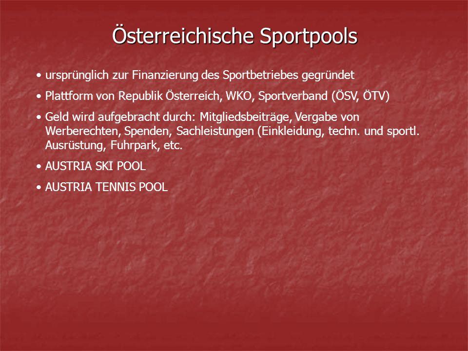 Österreichische Sportpools ursprünglich zur Finanzierung des Sportbetriebes gegründet Plattform von Republik Österreich, WKO, Sportverband (ÖSV, ÖTV) Geld wird aufgebracht durch: Mitgliedsbeiträge, Vergabe von Werberechten, Spenden, Sachleistungen (Einkleidung, techn.