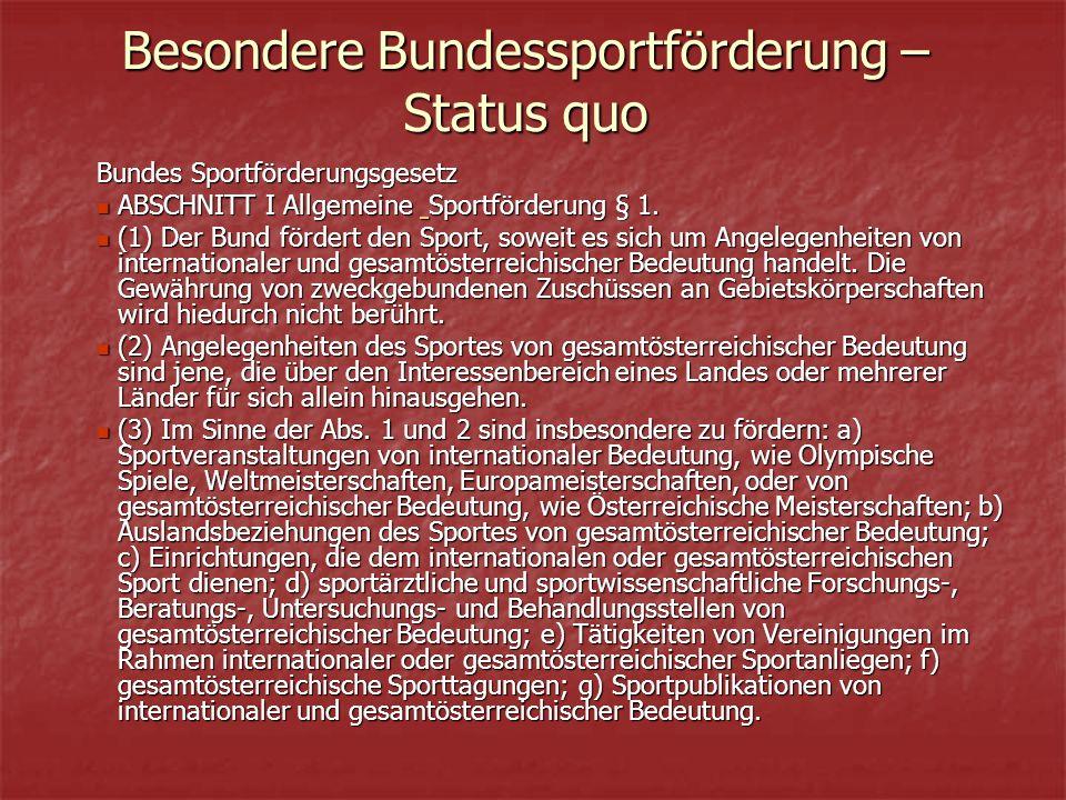 Besondere Bundessportförderung – Status quo Bundes Sportförderungsgesetz ABSCHNITT I Allgemeine Sportförderung § 1.