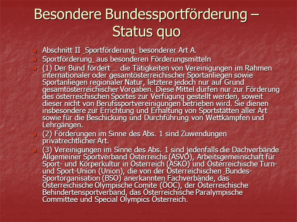 Besondere Bundessportförderung – Status quo Abschnitt II Sportförderung besonderer Art A.
