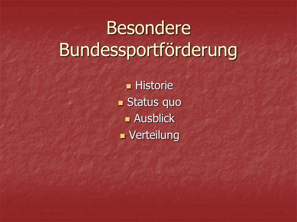 Besondere Bundessportförderung Historie Historie Status quo Status quo Ausblick Ausblick Verteilung Verteilung