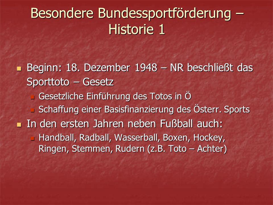 Besondere Bundessportförderung – Historie 1 Beginn: 18.