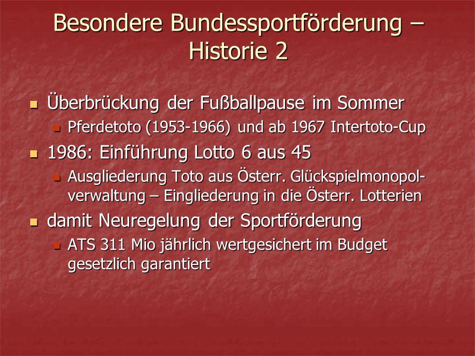 Besondere Bundessportförderung – Historie 2 Überbrückung der Fußballpause im Sommer Überbrückung der Fußballpause im Sommer Pferdetoto (1953-1966) und ab 1967 Intertoto-Cup Pferdetoto (1953-1966) und ab 1967 Intertoto-Cup 1986: Einführung Lotto 6 aus 45 1986: Einführung Lotto 6 aus 45 Ausgliederung Toto aus Österr.