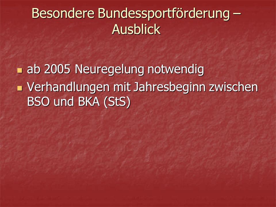 Besondere Bundessportförderung – Ausblick ab 2005 Neuregelung notwendig ab 2005 Neuregelung notwendig Verhandlungen mit Jahresbeginn zwischen BSO und BKA (StS) Verhandlungen mit Jahresbeginn zwischen BSO und BKA (StS)